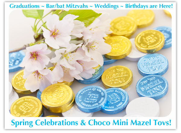 mini kosher chocolate coins in bulk, available colors: gold, blue and white, silver, pink and even black!