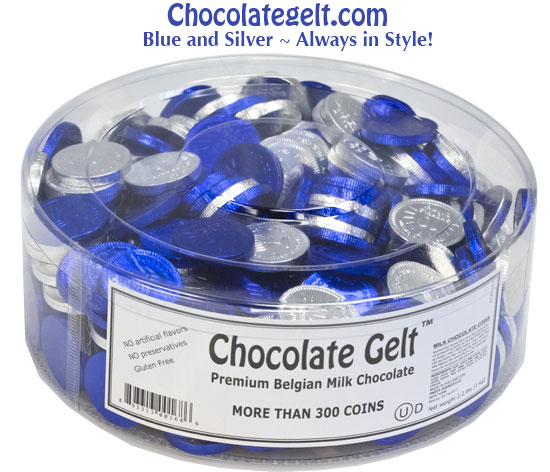 blue and silver chocolate coins bulk loose in plastic container