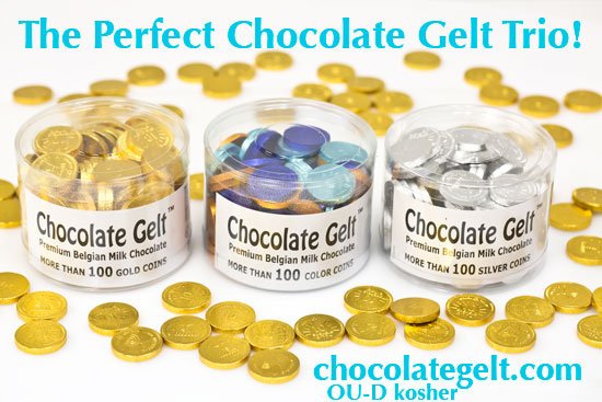 discount chanukah chocolate coins trio in tubs