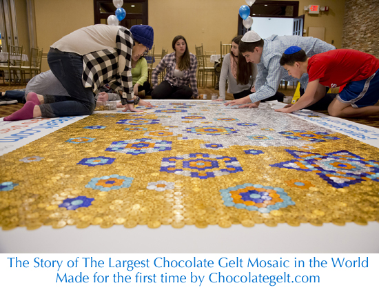 The Largest Chocolate Gelt Mosaic in the World. First made by Chocolategelt.com in 2016