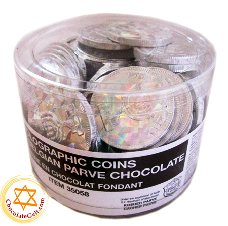 70 Parve Silver Coins in Tub (Nut Free and Dairy Free)