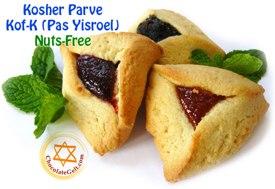 Purim Hamentashen in Bulk and Individually Wrapped Kof-K Kosher Parve Nut-Free #lovechocolategelt