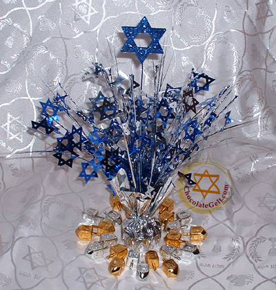Hanukkah Centerpiece Gold And Silver Sparkles