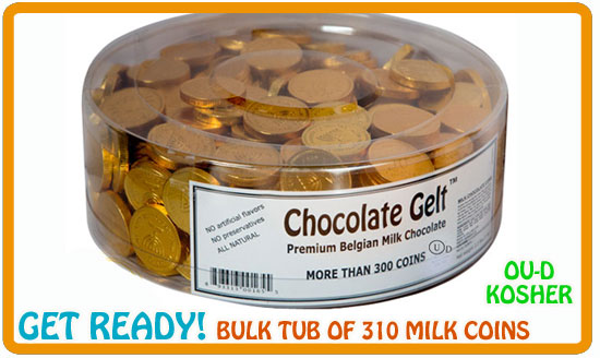 310 gold chocolate coins in bulk tub