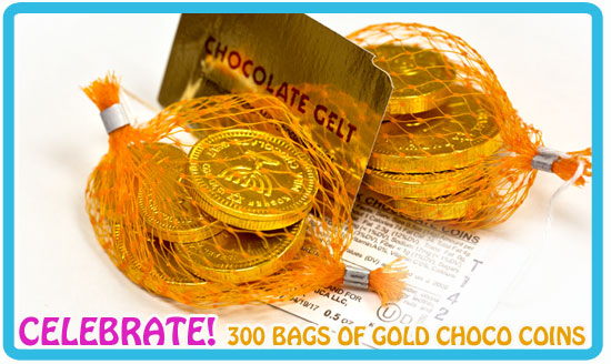 Buy this discount case of 300 Bags of Chocolate Coins and more Chocolate Gelt from our store!