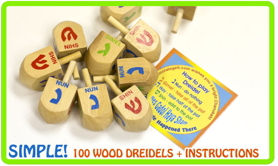 100 wood dreidels deluxe with game instructions cards chocolategelt.com