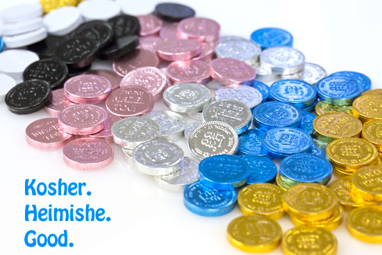 Chanukah/Hanukkah kosher milk chocolate coins in bulk, available colors: gold, blue and white, silver, pink and even black!