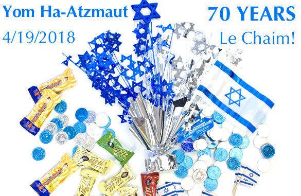 Celebrate yom HaAtzmaut ~ blue and silver chocolate coins and more from Chocolategelt.com