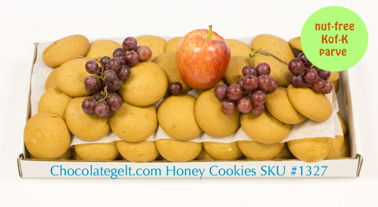 Soft Honey Cookies for Rosh Hashanah. Baked fres, parve kof-k and nut-free. Ready to serve on a tray or repack.