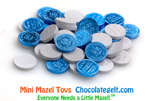 Mini Mazel Tovs BLUE AND WHITE Chocolate Coins Kosher OU-D