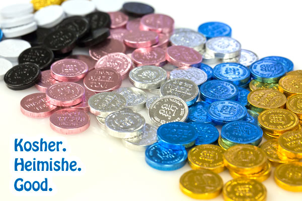 mini kosher milk chocolate coins in bulk, available colors: gold, blue and white, silver, pink and even black!