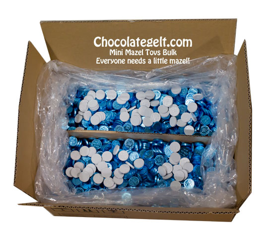 mini mazel tovs chocolate coins from chocolategelt.com order by pound or in bulk