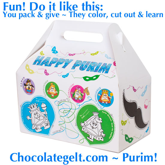 New Purim Craft Boxes for Shalach Manot Projects from Chocolategelt.com