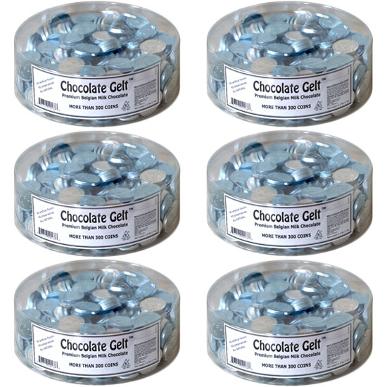 6 Tubs Of 310 Coins Silver And Blue Whole Case Milk Chocolate