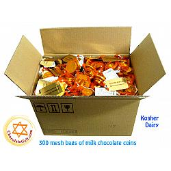 Wholesale Milk Chocolate Coins GOLD Kosher OU Dairy (CASE of 300 mesh bags)