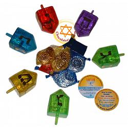 Hanukkah Combo: 100 bags of gelt and 100 FILLABLE dreidels