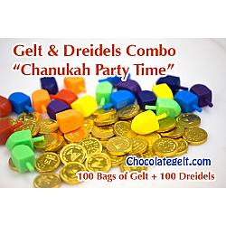 Hanukkah Combo: 100 bags of gelt and 100 plastic dreidels