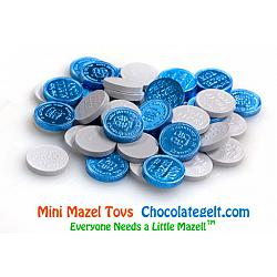 Mini Mazel Tovs Chocolate Coins BLUE and WHITE (BULK 10 LBS)