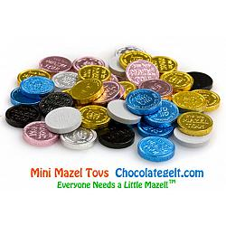 Mini Mazel Tovs MIXED Chocolate Coins - Bulk 10 LBS (about 2400 coins)