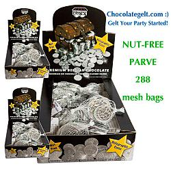 Wholesale Nut-Free Certified Parve Chanuka Coins (288 mesh bags)