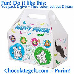 NEW! Large Purim Box Color Craft (CASE of 100)
